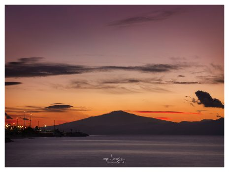 """Sunset and Mount Etna"" Reggio Calabria"